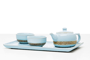 Tea For Two Set With Bluish Crackle Glaze And Greek Ornament