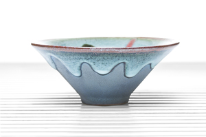 Blue Drip Glazed Conical Tea Bowl With Silver Chrysanthemum Incrustation