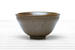 Greenish Brown Deep Flared Tea Bowl With Flared Rim