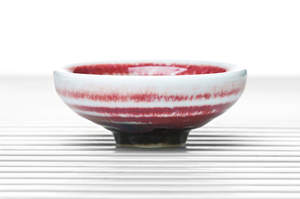 Conical Tea Bowl With Raspberry-Red Glazing
