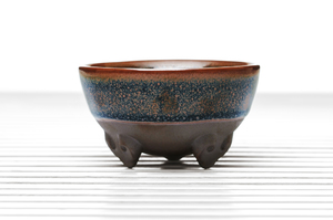 Hemisphere Three-Legged Tea Bowl With Brown