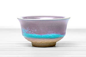 Cylindrical Tea Bowl With Blue And Pink Glazing
