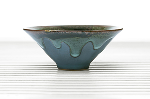 Conical Tea Bowl With Blue Drip Glaze